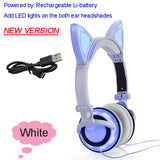 Foldable Flashing Glowing cat ear headphones Gaming Headset Earphone with LED light For PC Laptop Computer Mobile Phone-Headphones-Devices Depot-New White-United States-KoolWish.com