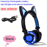 Foldable Flashing Glowing cat ear headphones Gaming Headset Earphone with LED light For PC Laptop Computer Mobile Phone-Headphones-Devices Depot-New Black-United States-KoolWish.com