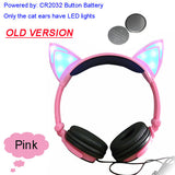 Foldable Flashing Glowing cat ear headphones Gaming Headset Earphone with LED light For PC Laptop Computer Mobile Phone-Headphones-Devices Depot-Old Pink-United States-KoolWish.com