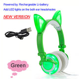 Foldable Flashing Glowing cat ear headphones Gaming Headset Earphone with LED light For PC Laptop Computer Mobile Phone-Headphones-Devices Depot-New Green-United States-KoolWish.com
