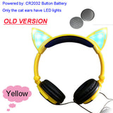 Foldable Flashing Glowing cat ear headphones Gaming Headset Earphone with LED light For PC Laptop Computer Mobile Phone-Headphones-Devices Depot-Old Yellow-United States-KoolWish.com