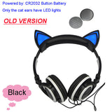 Foldable Flashing Glowing cat ear headphones Gaming Headset Earphone with LED light For PC Laptop Computer Mobile Phone-Headphones-Devices Depot-Old Black-United States-KoolWish.com