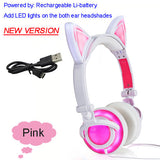 Foldable Flashing Glowing cat ear headphones Gaming Headset Earphone with LED light For PC Laptop Computer Mobile Phone-Headphones-Devices Depot-New Pink-United States-KoolWish.com