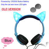 Foldable Flashing Glowing cat ear headphones Gaming Headset Earphone with LED light For PC Laptop Computer Mobile Phone-Headphones-Devices Depot-Old Blue-United States-KoolWish.com