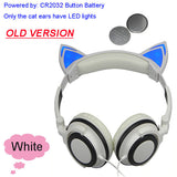 Foldable Flashing Glowing cat ear headphones Gaming Headset Earphone with LED light For PC Laptop Computer Mobile Phone-Headphones-Devices Depot-Old White-United States-KoolWish.com