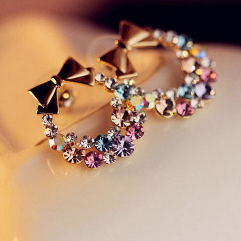 Free Shipping $10 (mix order) New Fashion Imitation Colorful Rhinestone Bow Earrings E41 Vintage Jewelry-Earrings-Devices Depot-KoolWish.com