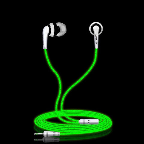 Glylezee G1 Luminous Stereo Cellphone Earphone Headset MP3 Music Headsets Glowing in Dark for Mobile Phone with Retail Package-Earphones-Devices Depot-Black-KoolWish.com