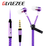 Glylezee S3 Zipper Earphone in-Ear Metal Bass MP3 Music 3.5mm with Microphone Stereo Cellphone Earpieces for Smart Phone-Earphones-Devices Depot-KoolWish.com