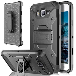 Heavy Duty Armor Case Holster+Belt Clip Kickstand Shockproof Hard Phone Cover For Samsung Galaxy J7/J3 2016/ON 5/S7/S7 Edge @-Devices Depot-black-United States-For S7 G930-KoolWish.com