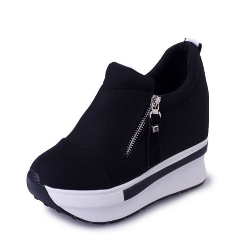 HEE GRAND Wedges Women Boots 2017 New Platform Shoes Woman Creepers Slip On Ankle Boots Fashion Flats Casual Women Shoes XWD4722-Shoes-Devices Depot-black-5-KoolWish.com