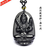 High Quality Unique Natural Black Obsidian Carved Buddha Lucky Amulet Pendant Necklace For Women Men pendants Jewelry-Necklaces-Devices Depot-5-KoolWish.com