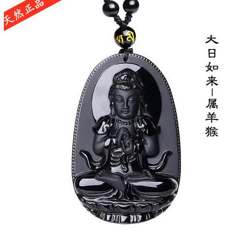 High Quality Unique Natural Black Obsidian Carved Buddha Lucky Amulet Pendant Necklace For Women Men pendants Jewelry-Necklaces-Devices Depot-1-KoolWish.com