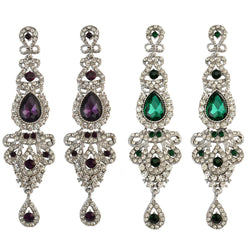 Idealway Luxury Purple Green AAA Zircon Long Drop Earrings For Women Bohemian Silver Plated Bridal Party Dangle Earring Bijoux-Earrings-Devices Depot-Silver Plated-Green-China-KoolWish.com