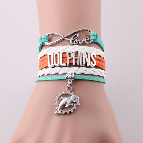 Infinity Love Miami Dolphins bracelet NFL Sport Football team Charm bracelet & bangles for women men jewelry Drop Shipping-Devices Depot-2974a-KoolWish.com