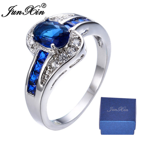 JUNXIN Brand Men Women Blue Oval Ring Vintage White Gold Filled Jewelry Christmas Gifts Shipping From US OS-RW0375-Jewelries-Devices Depot-10-United States-KoolWish.com