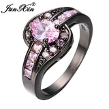 JUNXIN Female Oval Ring Black Gold Filled Jewelry Vintage Wedding Rings For Women Birth Stone Girlfriend Gifts-Jewelries-Devices Depot-10-Pink-KoolWish.com