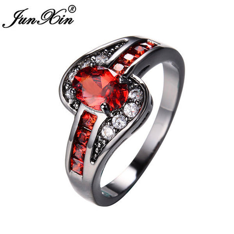 JUNXIN Female Red Oval Ring Fashion White & Black Gold Filled Jewelry Vintage Wedding Rings For Women Birthday Stone Gifts-Jewelries-Devices Depot-10-Black Gold-KoolWish.com