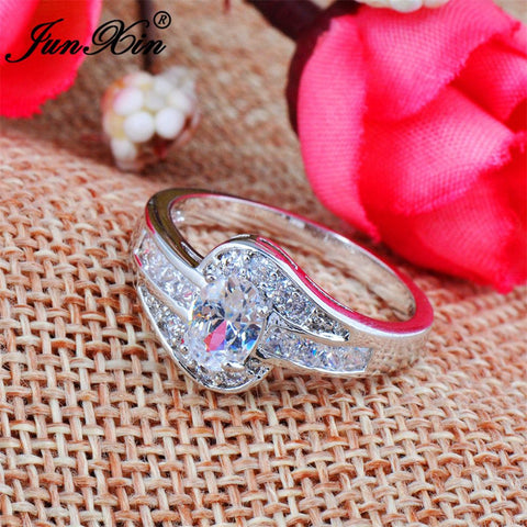 JUNXIN Female White Oval Ring Fashion Gold Filled Jewelry Vintage Wedding Rings For Women Birthday Stone Gifts-Jewelries-Devices Depot-10-KoolWish.com