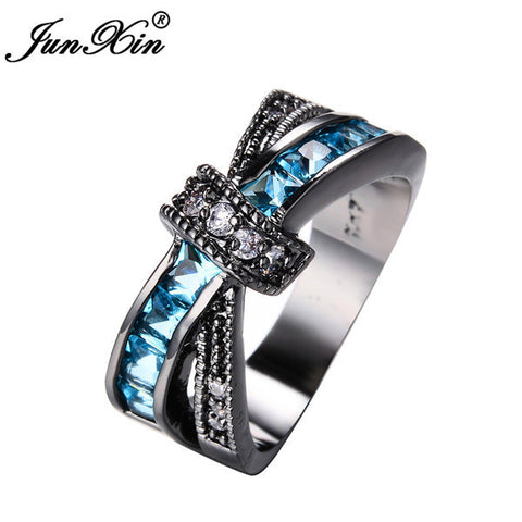 JUNXIN Light Blue Cross Ring Fashion White & Black Gold Filled Jewelry Vintage Wedding Rings For Women Birthday Stone Gifts-Jewelries-Devices Depot-10-Black Gold-KoolWish.com