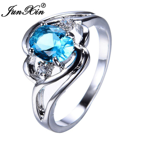 JUNXIN Light Blue Zircon Female Oval Ring White Gold Filled Wedding Party Engagement Finger Rings For Women Fashion Jewelry-Jewelries-Devices Depot-10-KoolWish.com