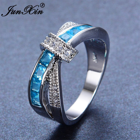 JUNXIN Unique Design Light Blue Zircon Ring White Gold Filled Wedding Party Engagement Finger Rings For Women Fashion Jewelry-Jewelries-Devices Depot-10-KoolWish.com