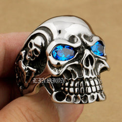 LINSION 316L Stainless Steel Blue CZ Eyes Huge Heavy Titan Skull Mens Boys Biker Rock Punk Ring Cubic Zirconia Ring 3A101 USA-Jewelries-Devices Depot-13-United States-KoolWish.com