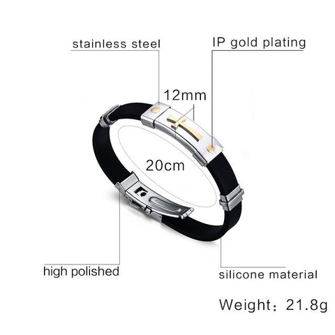Meaeguet Cross Bracelet For Men Women Black Silicone Bracelets Stainless Steel Spring Clasp Jewelry Simple Design-Jewelries-Devices Depot-BS001-KoolWish.com