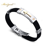 Meaeguet Cross Bracelet For Men Women Black Silicone Bracelets Stainless Steel Spring Clasp Jewelry Simple Design-Jewelries-Devices Depot-KoolWish.com