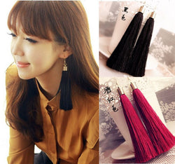 Momoko black vintage tassel earrings long earring big earrings fashion earrings free shipping C45-C50-Earrings-Devices Depot-KoolWish.com
