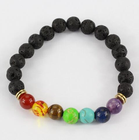Muti-color Design Mens Bracelets Black Lava 7 Chakra Healing Balance Beads Bracelet For Men Women Rhinestone Reiki Prayer Stones-Devices Depot-KoolWish.com