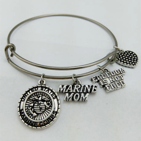 my shape United States Marine Mom Charm Bangle Stainless Steel Metal Expandable Wire Bangle Freedom Is Not Free-Devices Depot-KoolWish.com