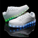 New 7 Colors Luminous Led Light Shoes Men Fashion USB Rechargeable Light Led Shoes For Adults Casual Shoes Big Size 35-46-Devices Depot-white-4-KoolWish.com