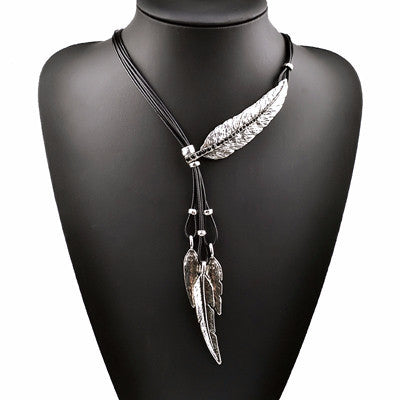 New Bohemian Style Black Rope Chain Leaf Feather Pattern Pendant Necklace For Women Jewelry Collares Statement Necklace-Necklaces-Devices Depot-B-KoolWish.com