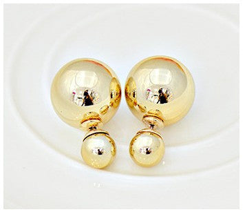 new fashion Cheap Price Fashion Double Sides Matt Candy Color Round Ball Stud Earrings For Lady free shipping crystal jewelry-Earrings-Devices Depot-Gold 11-KoolWish.com