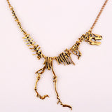 New fashion Jewelry Gothic Tyrannosaurus Rex Skeleton Dinosaur Pendant Necklace Gold Silver Chain Choker Necklace For Women-Necklaces-Devices Depot-Antique Gold-KoolWish.com