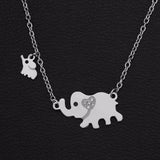New Fashion Style Titanium Steel Double Elephant Necklaces Mama Baby Pendants Dropshipping Jewelry-Necklaces-Devices Depot-3-KoolWish.com