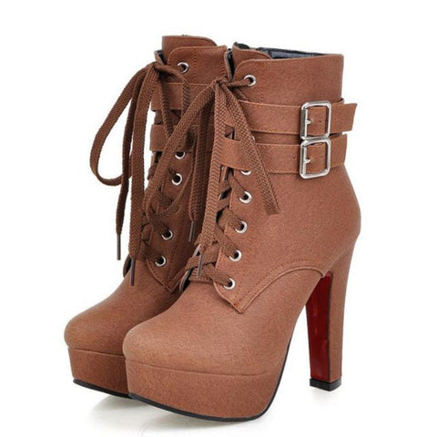 NEW Fashion Women Boots 2017 High Heels Ankle Boots Platform Shoes Brand Women Shoes Autumn Winter Botas Mujer Size 30-48-Shoes-Devices Depot-Brown-4-KoolWish.com