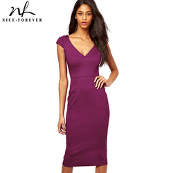 e8fd07597af Nice-forever Solid Women Bodycon Deep V neck Short Sleeve Sexy Club dress  casual Wear