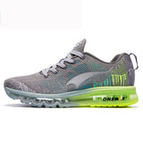 Onemix men's sport running shoes music rhythm men's sneakers breathable mesh outdoor athletic shoe light male shoe size EU 39-46-Shoes-Devices Depot-Grey Green-6.5-KoolWish.com