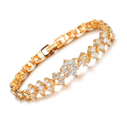 OPK Glittering Cubic Zirconia Flower Bracelet Gold Color Jewery For Women Luxury Stylish Accessory, DM429-Devices Depot-Gold-color-United States-KoolWish.com