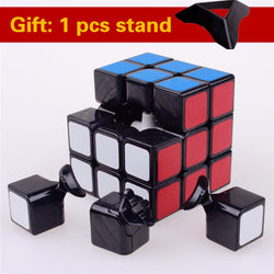 Original puzzle speed magic cube 3x3x3 pvc sticker block cubo professional learning & educational classic toys for Children-Devices Depot-white cube and stand-KoolWish.com