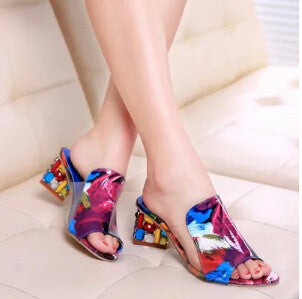 Rhinestone Peep Toe Heels Women Sandals Shoes Sexy Open Toe Wedge Slides Shoes Woman High Heels Sandals Platform Flip flops Plus-Shoes-Devices Depot-Multi-4-KoolWish.com