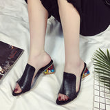 Rhinestone Peep Toe Heels Women Sandals Shoes Sexy Open Toe Wedge Slides Shoes Woman High Heels Sandals Platform Flip flops Plus-Shoes-Devices Depot-Black-4-KoolWish.com