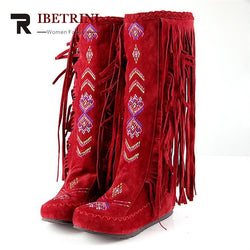 RIBETRINI The Chinese Stylish Women Tassel Boots Fringed Flat Heels Spring Autumn Boots Fashion Knee High Long Boots 3 colors-Devices Depot-wine red-6-KoolWish.com