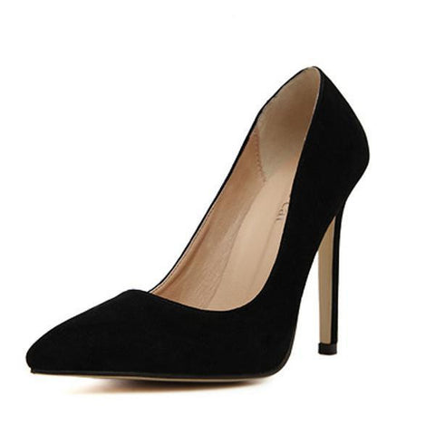 Rumbidzo Size 35-43 Women Pumps 2017 Sexy High Heels Pointed Toe Party Shoes Woman Wedding Office Pumps Red Green Zapato Mujer-Devices Depot-black 11cm-5-KoolWish.com