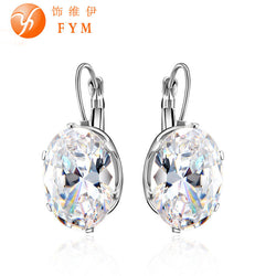 Silver Plated Big Oval Zircon Hoop Earrings for Women Fashion Austrian Crystal 13*18mm CZ Bijoux Girls-Earrings-Devices Depot-KoolWish.com