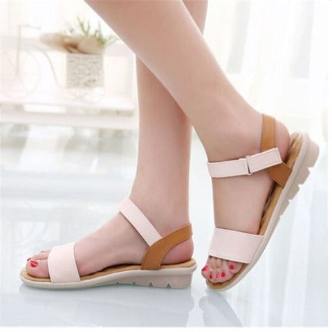 Sweet Ladies Basic Adhesive Sandals 3 Colors Patch Comfortable Flat Women Shoes Summer Style Soft Leather Leisure Sandals-Devices Depot-Beige-6.5-KoolWish.com
