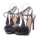 Tassel Sandals Spain Summer Style Ladies Sexy Stiletto pumps Women Fringe High Heels Party Wedding Shoes-Devices Depot-Purple taro-4-KoolWish.com