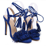 Tassel Sandals Spain Summer Style Ladies Sexy Stiletto pumps Women Fringe High Heels Party Wedding Shoes-Devices Depot-Blue-4-KoolWish.com