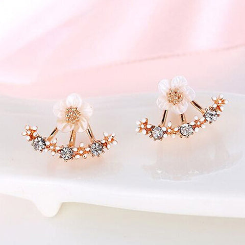 USTAR Flower Crystals Stud Earring for Women Rose gold color Double Sided Fashion Jewelry Earrings female Ear brincos Pending-Earrings-Devices Depot-Rose gold-KoolWish.com